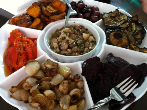 Antipasti Platter - Roasted: Sweet Potatoes, Red Peppers, Eggplant, Beets, Balsamic Onions, and Marinated Mushrooms.