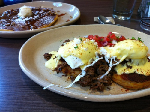 Snooze - pancakes, mexican style eggs benedict