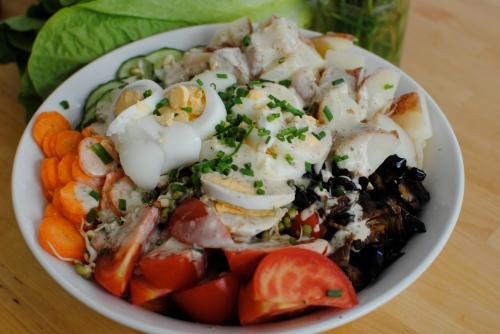 sabich salad close up