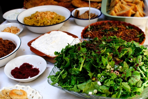 Salads and labaneh spread for lunch in Nazareth.